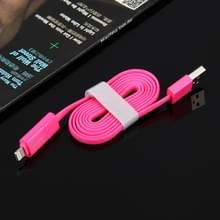 HAWEEL 2 in 1 Micro USB & 8 Pin naar USB Data Sync & laad kabel voor iPhone 6s & 6s Plus / iPhone 6 & 6 Plus / 5 & 5S  Samsung Galaxy S6 / S5  Kabel lengte: 1 meter (hard roze)