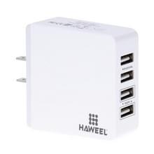 HAWEEL 4 ports USB Max 3.1a reizen muur Lader  USA stekker  Voor iPhone  iPad  Galaxy  Xiaomi  Huawei  LG  HTC en andere slimme Phoneswit