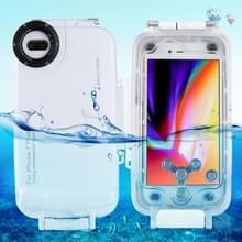 HAWEEL voor iPhone 8 & 7 Plus 40m / 130ft waterdichte duiken huisvesting Foto Video nemen onderwater Cover Case(White)