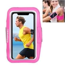 HAWEEL sport armband geval met oortelefoon gat & sleutel zak  voor iPhone XS  iPhone XS Max  iPhone X  iPhone 8 plus & 7 Plus  iPhone 6 plus  Galaxy S9 PLUS/S8 PLUS/S6/S5 (magenta)