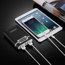 DIY HAWEEL 4 x 18650 batterij (niet meegeleverd) 10000mAh Power Bank Shell Box met 2 x USB uitgang & Display  voor iPhone  Galaxy  Sony  HTC  Google  Huawei  Xiaomi  Lenovo en andere Smartphones(Black)