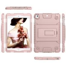 Volledige dekking silicone schokbestendig Case voor iPad mini (2019) & 4 & 3 & 2 & 1  met houder (Rose goud)