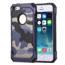 Voor iPhone 5 & 5s & SE Camouflage patronen schokbestendige harde Armor PC + siliconen combinatie Case(Dark Blue)