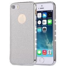 Voor iPhone SE & 5s & 5 Diamond Encrusted galvaniseren Frame Flash poeder TPU beschermende Case(Silver)