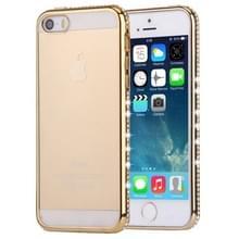 Voor iPhone SE & 5s & 5 Diamond Encrusted galvaniseren Frame transparante TPU beschermende Case(Gold)