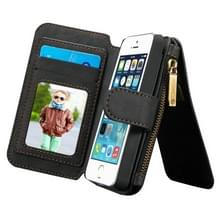 CaseMe voor iPhone SE & 5s & 5 multifunctionele lederen Billfold met afneembare magnetische PC beschermende hoes & 13 Card Slots & 1 foto Frames & 1 rits portemonnee & 2 magnetische slotjes & Holder(Black)