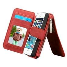 CaseMe voor iPhone SE & 5s & 5 multifunctionele lederen Billfold met afneembare magnetische PC beschermende hoes & 13 Card Slots & 1 foto Frames & 1 rits portemonnee & 2 magnetische slotjes & Holder(Red)