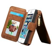 CaseMe voor iPhone SE & 5s & 5 multifunctionele lederen Billfold met afneembare magnetische PC beschermende hoes & 13 Card Slots & 1 foto Frames & 1 rits portemonnee & 2 magnetische slotjes & Holder(Brown)
