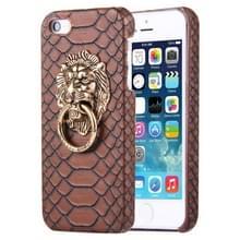 iPhone 5 & 5S & SE Slangenhuid structuur Kunststof back cover Hoesje met leeuwenkop ring houder (koffie kleur)