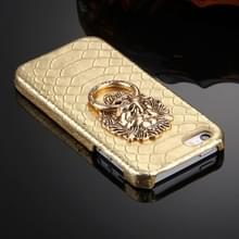 iPhone 5 & 5S & SE Slangenhuid structuur Kunststof back cover Hoesje met leeuwenkop ring houder (goudkleurig)