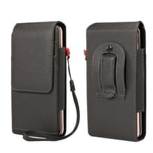 Voor 6 7 inch en onderstaande telefoons Litchi Texture Multifunctionele Universal Vertical Flip Upright Double Lattice PU Lederen Tas Taille Tas met Card Slot & Belt Clip & Lanyard (Zwart)