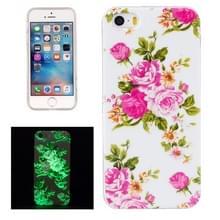 Voor iPhone 5 & 5s & SE Noctilucent Rose bloem patroon IMD vakmanschap TPU terug dekken softcase