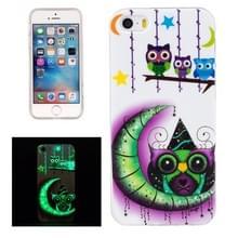 Voor iPhone 5 & 5s & SE Noctilucent maan en uilen patroon IMD vakmanschap TPU terug dekken softcase