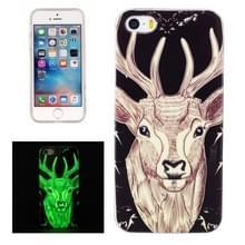 Voor iPhone 5 & 5s & SE Noctilucent Deer patroon IMD vakmanschap TPU terug dekken softcase