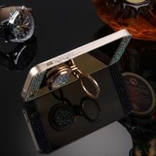Voor iPhone 5 & 5s & SE Diamond Encrusted galvaniseren spiegel Cover beschermhoes met verborgen ringhouder (goud)