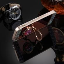 Voor iPhone 5 & 5s & SE Diamond Encrusted galvaniseren spiegel Cover beschermhoes met verborgen ringhouder (Rose Gold)