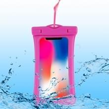 PVC transparante airbag universele waterdichte tas met Lanyard voor smartphones onder 5 5 inch (Rose rood)