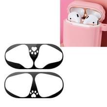 Cat klauw patroon metaalstof dichte beschermende sticker voor Apple luchtpods 1/2 (zwart)