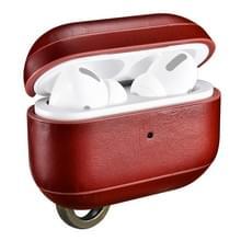 ICARER Voor Apple AirPods Pro Ring Buckle Versie Retro Oortelefoon Beschermlederen hoes (rood)