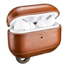 ICARER Voor Apple AirPods Pro Ring Buckle Versie Retro oortelefoon Beschermlederen hoes (Bruin)