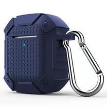 Draadloze koptelefoon schokbestendig Armor silicone beschermhoes voor Apple AirPods 1/2  draadloze versie (donkerblauw)