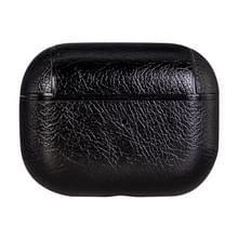 Voor AirPods Pro PC + PU draadloze oortelefoon beschermende case opbergdoos (zwart)