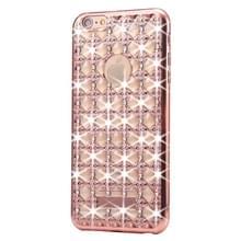 Voor iPhone 6 & 6s Agate & Diamond Encrusted galvaniseren TPU beschermende back cover Case(Rose Gold)