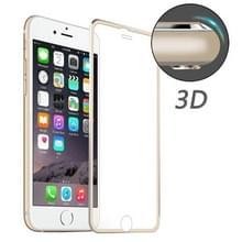 ENKAY voor iPhone 6 & 6s Hat-Prins 0.2mm 9H oppervlakte hardheid 3D aluminiumlegering gebogen rand explosieveilige getemperd glas scherm Protector(Gold)