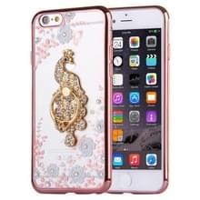 Voor iPhone 6 & 6s wit bloemen & Peacock patroon Diamond galvanische TPU beschermhoes met houder