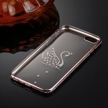 Voor iPhone 6 & 6s Diamond Encrusted Swan patroon galvaniseren Frame TPU beschermende Case(Rose Gold)