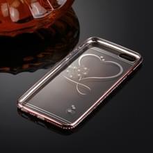 Voor iPhone 6 & 6s Diamond Encrusted liefde patroon galvaniseren Frame TPU beschermende Case(Rose Gold)
