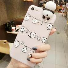 Voor iPhone Hang 6 & 6s de kleren Panda's patroon 3D mooie Papa Panda Dropproof back cover beschermhoes