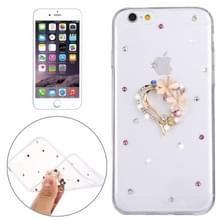 Voor iPhone 6 & 6s Diamond Encrusted bloem liefde patroon zachte TPU Case Back beschermkap