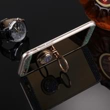 Voor iPhone 6 & 6s Diamond Encrusted galvaniseren spiegel Cover beschermhoes met verborgen Ring Holder(Gold)