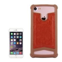 4.5-4 8 inch universele Crazy Horse textuur PU leder + siliconen beschermhoes voor Sony  Blackberry  HTC  Nokia  Blackview  ZTE  iNew  Leagoo  Bluboo en andere Smartphones  maat: 14.2x7.4x1cm(Brown)