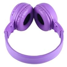 BS-N65 Headband Folding Stereo HiFi Wireless Headphone Headset with LCD Screen & TF Card Slot & LED Indicator Light & FM Function(Purple)