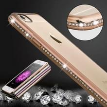 Voor iPhone 6 Plus & 6s Plus Diamond Bling luxe Plating PC Frame transparante TPU beschermende Case(Gold)