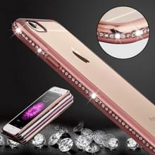 Voor iPhone 6 Plus & 6s Plus Diamond Bling luxe Plating PC Frame transparante TPU beschermende Case(Rose Gold)