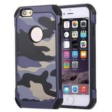 Voor iPhone 6 Plus & 6s Plus Camouflage patronen schokbestendige harde Armor PC + siliconen combinatie Case(Dark Blue)