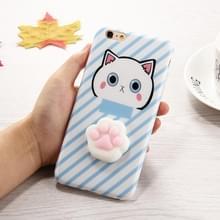 Voor iPhone 6 Plus & 6s Plus 3D mooie kat Cartoon patroon Squeeze Relief IMD vakmanschap Squishy Dropproof beschermende terug dekken Case(Blue)