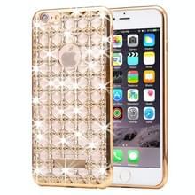 Voor iPhone 6 Plus & 6s Plus Agate & Diamond Encrusted galvaniseren TPU beschermende back cover Case(Gold)