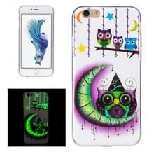 Voor iPhone 6 Plus & 6s Plus Noctilucent maan en uilen patroon IMD vakmanschap TPU terug dekken softcase