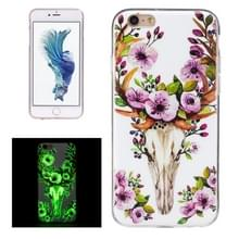 Voor iPhone 6 Plus & 6s Plus Noctilucent Sika herten patroon IMD vakmanschap TPU terug dekken softcase