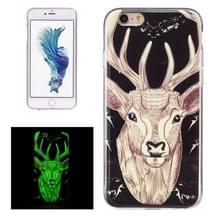Voor iPhone 6 Plus & 6s Plus Noctilucent Deer patroon IMD vakmanschap TPU terug dekken softcase
