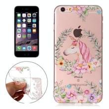 Voor iPhone 6 Plus & 6s Plus bloem Unicorn patroon TPU beschermhoes