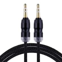 Geweven stijl metaal hoofd 3 5 mm mannetje naar Male Plug Jack Stereo Audio AUX Kabel voor iPhone  iPad  Samsung  iPod Laptop  MP3  Lengte: 1m(zwart)