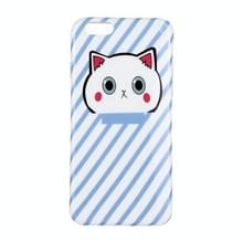 Voor iPhone 6 Plus & 6s Plus Blauwe Achtergrond Mooie Cartoon Cat Patroon IMD Dropproof Protective Back Cover Case