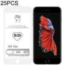 25 stuks 9H 5D witte volledige lijm volledig scherm gehard glas film voor iPhone 6 plus/6s plus