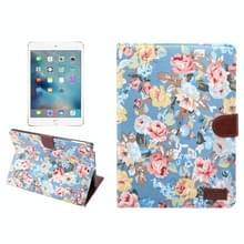 Voor nieuwe iPad 9.7 inch iPad air (IPAD5) & IPAD air2 (IPAD6) universele bloem patroon doek oppervlak horizontale Flip leren beschermhoes met houder & Card Slots & portemonnee & Sleep(Blue)