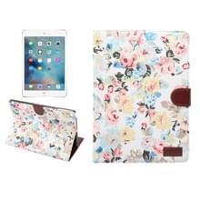 Voor nieuwe iPad 9.7 inch iPad air (IPAD5) & IPAD air2 (IPAD6) universele bloem patroon doek oppervlak horizontale Flip leren beschermhoes met houder & Card Slots & portemonnee & Sleep(White)